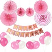Birthday Party Decoration Set, KUMEED Hanging Fiesta Paper Fan Happy Birthday Banner Latex Balloons Decoration Kit