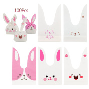 Candy Bags,KAKOO 100 Pcs Bunny Shape Treat Bags Cookie Bags With 100 Pcs Gold Twist Ties for Party Favours Supplies