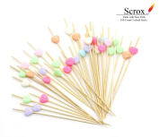 Scrox Handmade Cocktail Sticks Picks 100 Counts Wooden Toothpicks for Nibbles Tapas Sandwich Canapes Appetisers Heart
