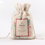 yipinco7285 Christmas Canvas Drawstring Gift Bag Candy Pouch Storage Cinch Bag