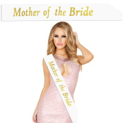 Outee Mother of the Bride Sash White Night Out Sash Hen Party Sash with Gold Letters for Women Night Out, 1 Pcs