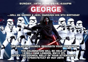 10 x Personalised Star Wars Children Birthday Party Invitations