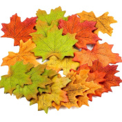 (300 Pack)Artificial Fall Leaves Fake Autumn Maple Leaves for Wedding Decoration Photo Prop Rustic Craft Assorted 6 colours