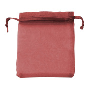 Classic Large Organza Favour Pouches - Wedding Voile Bags Drawstring Chiffon [Burgundy, 10 Bags]