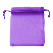 Classic Large Organza Favour Pouches - Wedding Voile Bags Drawstring Chiffon [Purple, 10 Bags]