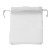 Classic Large Organza Favour Pouches - Wedding Voile Bags Drawstring Chiffon [White, 100 Bags]