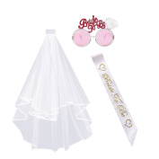 CCINEE Hen Party Accessories Bridal Wedding Veil with Comb Bride to Be Sash and Glasses 3 piece