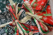 Christmas Fabric Bag 100G Bundle For Craft Remnants + Christmas Ribbons 15 x 1 Metre Lengths Xmas Craft Set