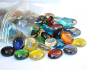 500g app 115 of MIXED COLOURS Glass Pebbles/Stones/Gems/Nuggets /Beads 17 - 20mm