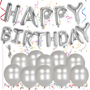 Outee Happy Birthday Alphabet Balloons Banner Letter Foil Balloons 10 Silver Metallic Latex Balloons with a String and Straw for Party Supplies