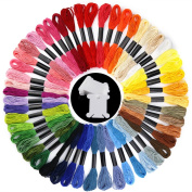 Biging 50 Skeins Rainbow Colour Embroidery Thread Embroidery Floss Cross Stitch Floss with 12 Pieces Floss Bobbins