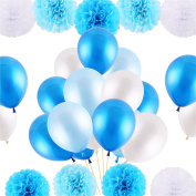 VEYLIN 25cm Pom Poms Flowers and 30cm Party Latex Balloons for Birthday Wedding Party Decorations