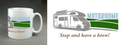 """""""Motorhome. Stop and have a brew"""" 330ml Large Handle Mug. Christmas, birthday, stocking filler. Gift."""
