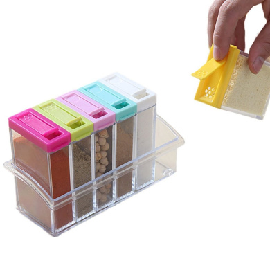 Seasoning Box, Outgeek 6Pcs Spice Seasoning Box Condiment Storage Container with Tray
