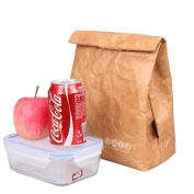 Reusable Brown Paper Lunch Bag Insulated Bento Lunch Box Cooler with Hook and loop Closure Stylish Eco-friendly for School Office Picnic 6L