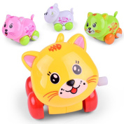 Clockwork Car Toy ,Mumustar Children Toddlers Animated Cartoon Cat Car Educational Racing Vehicle Wind up Truck Toy