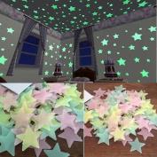 Kids Bedroom Fluorescent Wall Stickers SOMESUN Glow 100PC In The Dark Stars Wall Stickers