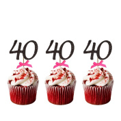 40th Birthday Cupcake Toppers - Pack of 10 - Number 40 Glitter Black with Hot Pink Bows