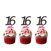 16th Birthday Cupcake Toppers - Pack of 10 - Number 16 Glitter Black with Dark Pink Bows