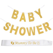 Biging 1 Piece Baby Shower Bunting Banner and Mummy To Be Sash for Baby Shower Party Decoration