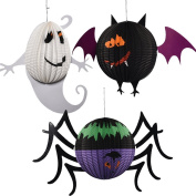 LAAT Halloween Party Decorations Hanging Paper Lanterns Ghosts Doll Pendant Decorative Elements of Ghosts and Spiders for Parties, Home Decor