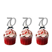 70th Birthday Cupcake Toppers - Pack of 10 - Number 70 Glitter Silver with Black Bows