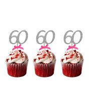60th Birthday Cupcake Toppers - Pack of 10 - Glittery Silver with Hot Pink Bows