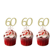 60th Birthday Cupcake Toppers - Pack of 10 - Glitter Gold with Light Pink Bows