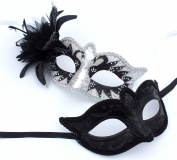 HIS N HERS PAIR OF CO-ORDINATED BLACK & SILVER VENETIAN MASQUERADE CARNIVAL PARTY EYE COUPLES MASKS