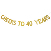 Veewon Cheers to 40 Years Banner Gold Glitter Letters Bunting Garlands 40th Birthday Anniversary Party Photo Prop Decor