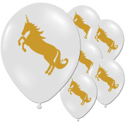 10 Gold Unicorn Happy Birthday Children's Party Latex Printed White Balloons