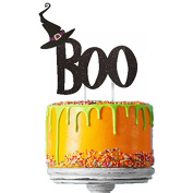 Glittery Black Boo with Black Witches Hat Happy Halloween Cake Topper - Cake Decoration