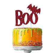 Happy Halloween Cake Topper - Glittery Dark Pink Boo with Bat Cake Decoration