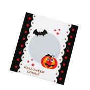 100x Da.Wa Self-Adhesive Halloween Cookie Bags Cellophane Pumpkin Bat Candy Storage Bag Party Gift