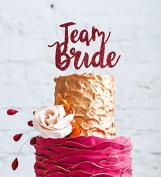 Team Bride Hen Party Cake Topper - Bride to Be Glitter Dark Pink Cake Topper