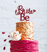 Bride to Be Cake Topper - Glitter Dark Pink Bachelorrette Hen Party Swirly Cake Topper - with cute Heart