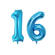 TOYMYTOY 100cm Blue Number 16th Balloon Party Festival Decorations Birthday Anniversary Jumbo Foil Balloons Party Supplies Photo Props