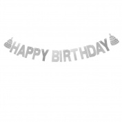 Veewon Happy Birthday Banner Silver Sparkly Glitter Bunting Garland for Birthday Party Decoration Favour