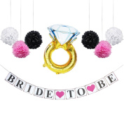 "KUNGYO Bridal Shower Bachelorette Party Decoration Kit-""Bride to Be"" Banner+Engagement Ring Mylar Balloon+ Tissue Flower Pom Poms-Perfect Supplies for Bridal showers Weddings or Girls Night Out"