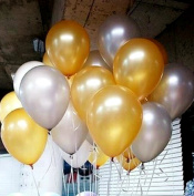 Syndecho 30cm Gold and Silver Latex Balloons Birthday Wedding Party Decorations,50pcs