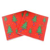 Christmas Napkins,Shiningup Christmas Tree Snowflake Santa Claus Printed Paper Napkin Tableware Party Supplies