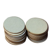 Outflower 100pcs 32mm Natural Wood Slices Round Wood Discs Tree Bark Wooden Circles DIY Ornaments