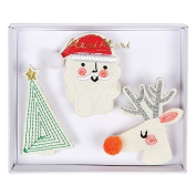 Embroidered Christmas Brooches
