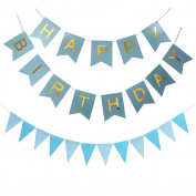 KUNGYO Happy Birthday Banner Birthday Party Decorations With Triangular Bunting Flag Garland