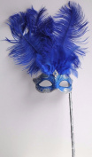 Mask & Co Ladies Quality Blue & Silver Feather Venetian Masquerade Party Ball Eye Mask Hand Held on a Stick