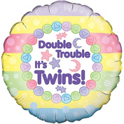 "Oaktree 46cm "" Double Trouble Its Twins Balloon Baby Shower Party Decoration"