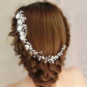 Veewon Wedding Bridal Pearl Hairband Tiara Headdress Headband Hair Clips Bridal Headpiece Hair Accessories, Flower Style