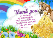 Disney Princess Belle birthday party Thank you card pack 10 (thick cards) + Envelopes