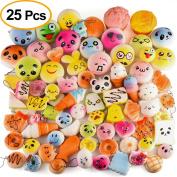 Kuuqa 25 Pcs Squishies Slow Rising Kawaii Squishies Jumbo Medium Mini Squishy Toy Package Cake/Panda/Dounts Squishy Phone Straps Party Favours(Random style)