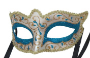 Mask & Co Mens or Ladies Quality Turquoise & Gold Venetian Masquerade Party Ball Eye Mask